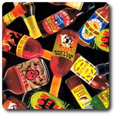 Bottles of different types of hot sauce. Novelty Fabric, Hot Sauce, Bottles, Spicy Salsa