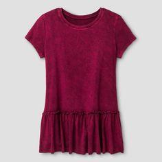 Girls' Knit Peplum T-Shirt Art Class - Burgundy Zest XS, Girl's