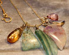 Gemstone Pendant Cluster Necklace