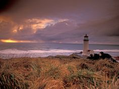 North Head Lighthouse at Sunset, Fort Canby State Park, Washington, USA…
