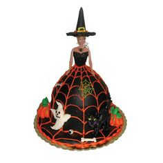 Witch Cake - a cute twist on the traditional doll cake!  Cute for Halloween!