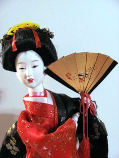 Japanese Doll Geisha Girl with Golden Fan Vintage 1970s