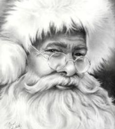Awesome drawing by Carol Colestock The perfect Santa. Noel Christmas, Father Christmas, Christmas Pictures, Winter Christmas, Vintage Christmas, Xmas, Christmas Scenes, Illustration Noel, Illustrations