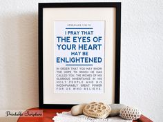 Ephesians 1:18-19. Open the Eyes of my Heart. 8x10in. DIY Printable Christian Poster. Bible Verse. on Etsy, $6.50