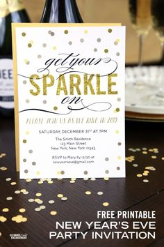 Free Printable New Year's Eve Party Invitation from Elegance and Enchantment {customizable in Adobe Reader}