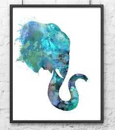 Blue Elephant Watercolor Animal Painting by Thenobleowl on Etsy, $15.00: