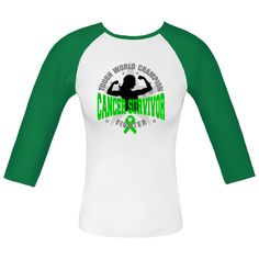 """You fought hard and won the battle against cancer...now sport your survivorship milestone with our line of """"Tough World Champion Bile Duct Cancer Survivor"""" Fitted Raglan T-Shirts. #BileDuctCancerAwareness"""