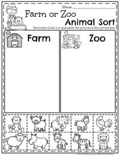 zoo animals Farm or Zoo Animal Sorting Worksheets - Preschool Farm Theme Preschool Learning Activities, Preschool Lessons, Educational Activities, Zoo Animal Activities, Animal Themes, Farm Animals Preschool, Zoo Animals, Preschool Farm Theme, Zoo Crafts Preschool