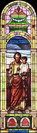 Large Vintage Saint Joseph with Child Jesus Church Stained Glass Window DESCRIPTION: Large vintage Romanesque church stained glass window depicting Saint Joseph with Child Jesus.