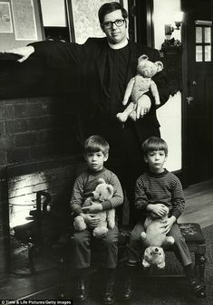 Like father, like son: Portrait of Reverand Stephen Williamson of Pennsylvania with his teddy bear and his sons