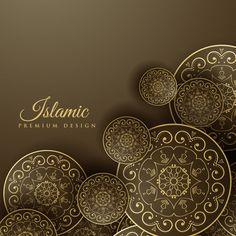 Islamic background with mandala decoration Free Vector Creative Poster Design, Creative Posters, Vector Design, Vector Art, Background Yellow, Arabesque, Eid Cards, Mandalas Drawing, Mandala Art