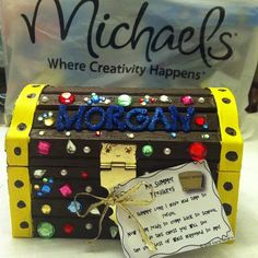 Back-to-School Craft: Treasure Chest.   #Create2Educate #Sweepstakes. Enter your own project for a chance to win a $50 gift card to Michaels. Learn more:  https://www.facebook.com/Michaels?sk=app_584051421645085