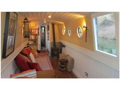 The Boathouse: a new definition to lakefront living! Barge Boat, Canal Barge, Barge Interior, Best Interior, Living On A Boat, Tiny Living, Canal Boat Interior, Narrowboat Interiors, Boat Lift