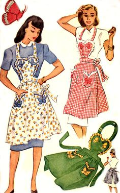 Vintage 40s Apron Pattern - McCall 1257 - Sweetheart Bib - Butterfly Applique - Size Small 12-14 - Uncut. $24.95, via Etsy.