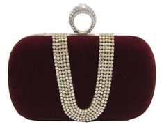 Chicastic Wine Red Suede Rhinestone Studded  Evening Cocktail Clutch