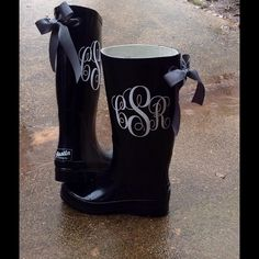 Monogram Bow Rain boots By Me! COLORS Available! Custom Order! .LMK if you'd like a pr so I can create ur own listing with your info DONT BUY THIS ONE.these are pics of my actual boots may vary in design as I switch suppliers often.these r currently on a 3-4day wait meaning it'll b approx 5 days b4 I can ship after u buy.LMK if u need them made for a wide calf.they can be cut n the back(hidden by ribbons.c 3rd pic)& adjusted to ur calf Sz.trade val 100.boots run about a half sz big .order up…