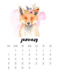 January 2018 Watercolor Animal Calendar