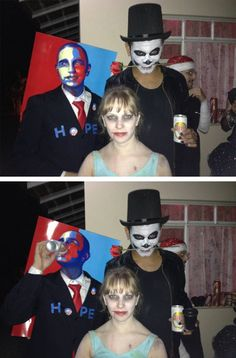 Best Design Halloween Costume Award goes to the dude dressed as the 2008 Obama HOPE poster.