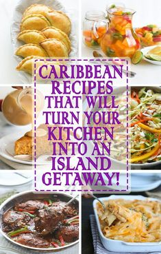 Caribbean cuisine is an incredible blending of tropical flavors and multicultural influences that have been enhanced over centuries. Food in the Caribbean is based on mostly African, Spanish, Chinese, Carribean Food, Caribbean Recipes, Carribean Party, Haitian Food Recipes, Indian Food Recipes, Ethnic Recipes, Jamaican Dishes, Jamaican Recipes, Trinidad Recipes