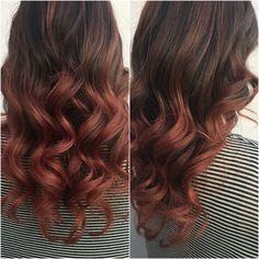 Rose gold ombré on dark hair