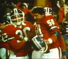 Wide receiver JIM JENSEN (30) and center BOBBY MAPLES (50) bask in the glory of defeating Oakland in the AFC Championship game on January 1, 1978!!