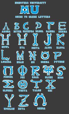 Monsters University Greek Alphabet by RealPMP