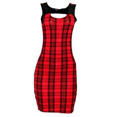 Charmaine Red/Back Check Ladies Armless Dress