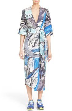 Phelan Brushstroke Print Silk Wrap Dress