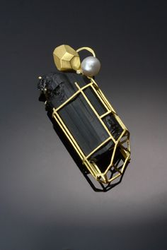 A Beautiful Wish - Brooch  18k gold, black tourmaline, diamond, pearl.