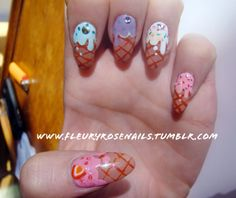 I am confident I would eat way too much icecream if these were my nails. Hmm...
