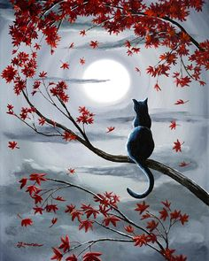 Black Cat In Silvery Moonlight Painting by Laura Iverson - Description - A black cat watches a cloud drift across the lumious full moon. Autumn leaves in shades of orange, red, and burgandy dance in the gray sky.