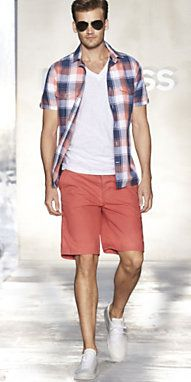scratch the plaid button down, add a belt around those shorts [cloth or leather, you choose] and the dye slightly darker, more salmon...and this would be AMAZING. JUST the white t... <3 c'mon @Jacob Hubbard you'd HAVE to try this out sometime, I guarentee you'd be surprised at how good you'd look :)