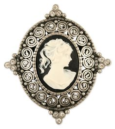 Cameo Pin - 2 inch black and white Victorian Style