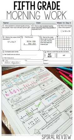 5th grade morning work - covers all 5th grade math common core standards. Looking for the perfect way to build a Morning Routine that is meaningful?! Review math standards, language standards, and cursive handwriting with this packet!