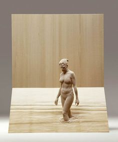 to the river - A hand-carved wood sculpture by the amazing artist, Peter Demetz. Human Sculpture, Sculpture Clay, Statues, Italian Artist, Wassily Kandinsky, Human Body, Wood Art, Amazing Art, Sculpting