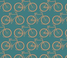 Retro Bicycles fabric by cloudy_cape_vintage on Spoonflower - custom fabric