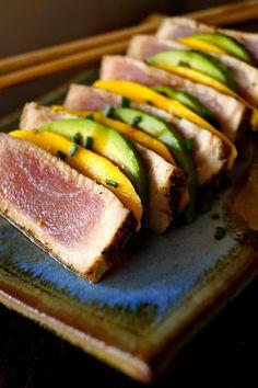 Seared Ahi Tuna Avocado-Mango Appetizer Recipe | cookingontheweekends.com