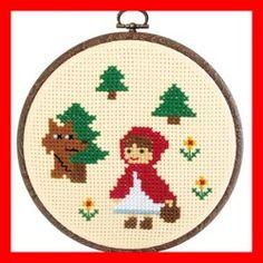 Little Red Riding Hood Cross Stitch Kit Cross Stitch Fairy, Small Cross Stitch, Cross Stitch For Kids, Cute Cross Stitch, Embroidery Kits, Cross Stitch Embroidery, Cross Stitch Patterns, Needlepoint Patterns, Red Riding Hood