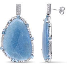 Miadora Sterling Silver Blue Quartz and Topaz Dangle Earrings (735 BRL) ❤ liked on Polyvore featuring jewelry, earrings, blue, earring jewelry, long dangle earrings, round earrings, sterling silver butterfly earrings and sterling silver earrings