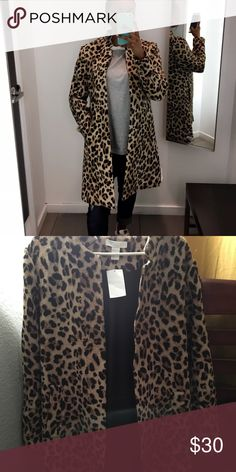 Leopard print coat Size 14 but it fits me perfectly (I'm 5'1, 120lbs, usually wear a small or medium jacket) Very thick material, has pockets H&M Jackets & Coats Pea Coats