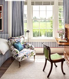 Room of the Day ~ blue and white stripes  by Libeco on walls, drapes and bed, on armchair Textile Green Birds linen by Josef Frank in this guest room ~ Katie Ridder design