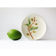 Handmade Esposito Pottery Plate Vintage Studio Art Pottery Naturalist... (€14) ❤ liked on Polyvore featuring home, home decor, european plates, pottery plates, european home decor, handmade pottery plates and leaf dishes