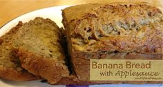 My favorite banana recipe!!! I use 1 cup white flour and 1 cup wheat flour. Healthy Banana Bread with Applesauce Recipe - MyNaturalFamily.com #banana #bread #recipe