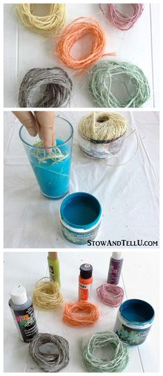 How to dye sisal twine with paint to use for gift wrap, crafts, weddings, ornaments and more - StowAndTellU.com