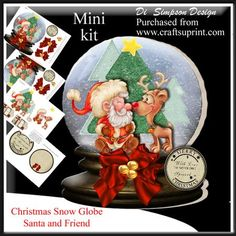 """Christmas Snow Globe Santa and Friend on Craftsuprint designed by Di Simpson - Delightful Snow globe with Santa and friend. Very easy to put together. Instructions included. Card size when finished is approx. 8"""" height x 6 1/2"""" width.There are 4 sheets to print out in this kit* A front topper sheet* A back topper sheet* An elements 3D sheet* A sheet with a couple of inserts. Also a couple of gift tags included and bannersThere is also an instruction sheet. - Now available for download!"""