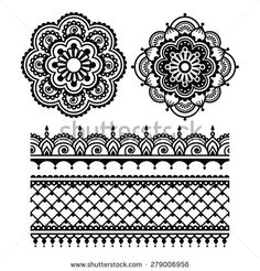 Mehndi, Indian Henna tattoo seamless pattern  by RedKoala #vector