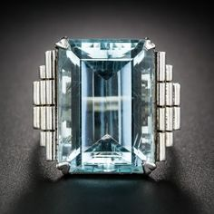 Retro White Gold Aquamarine Ring - Antique & Vintage Gemstone Rings - Vintage Jewelry