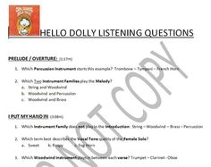 Listening Activity: Musical Theater: Hello Dolly Suggested Grade Level: 5 Exploring the basic tools of Melody, Rhythm, Tone Color, Expression, Style and Form.  Use as an Active Listening group lesson or a Self-Paced Music Center worksheet.