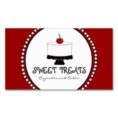 Red Black White Bakery Business Cards. I love this design! It is available for customization or ready to buy as is. All you need is to add your business info to this template then place the order. It will ship within 24 hours. Just click the image to make your own!
