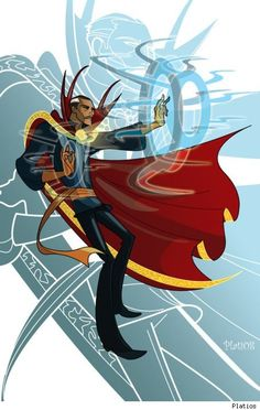Doctor Strange by Platios.  This is a cool, stylized Dr. Strange pic.  Anyone who wants to understand comics as a storytelling form, needs to read the early parts of the Dr Strange line.